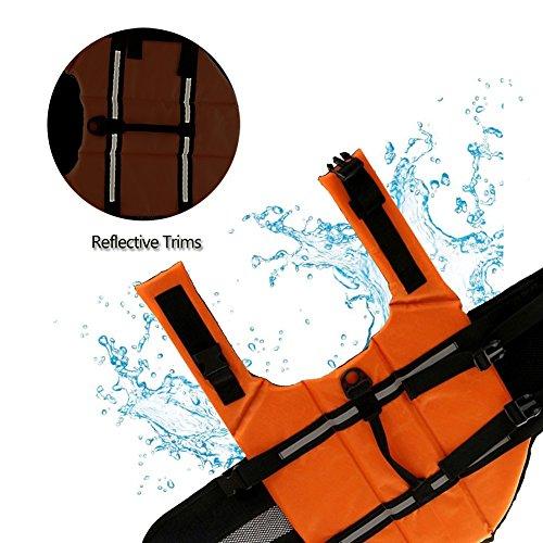 Gtpeak Dog Life Jacket Swimming Vest Saver with professional Flotation Device Reflective Stripe Adjustable Elastic Band Easy Grabbing Different Sizes by Gtpeak (Image #3)