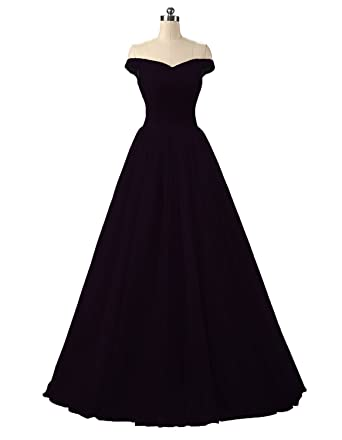 Nina A-line Tulle Prom Formal Evening Homecoming Dress Ball Gown Black2