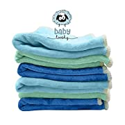 Baby Washcloths by Baby Tooshy. Soft & Organic Cloth Wipes Made of Bamboo & Cotton Velour. Effective for Newborn/ Sensitive Skin. Suitable for Bath & Diaper Changes. 6 Per Set. XL Size 10x10 . Greens