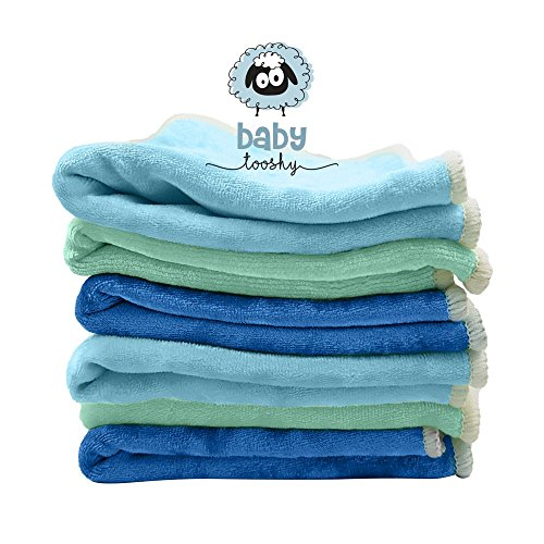 Baby Tooshy Bamboo and Cotton Velour Soft and Organic Baby Washcloths, Blue, XL Size (10x10-Inches), Set of - Much International How Shipping Cost