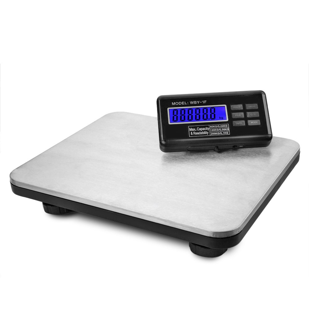 Flexzion Industrial Digital Shipping Postal Scales, Max Weight 200KG 440lb w/LCD Backlight Display & AC Adapter, Heavy Duty Stainless Steel Platform for Medium to Small Packages Parcel Small Pet