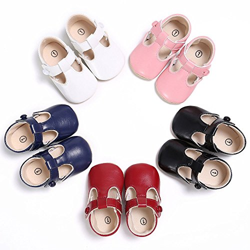 Enteer Baby Girls Retro Leather Button Mary Jane Shoes