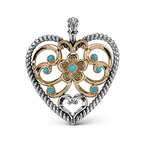 Turquoise Enhancer Pendant - American West Mixed Metal Bold Turquoise Heart Enhancer Pendant