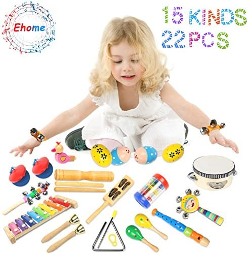 toys, games, learning, education, musical instruments,  drums, percussion 4 discount Toddler Musical Instruments Ehome 15 Types 22pcs Wooden promotion