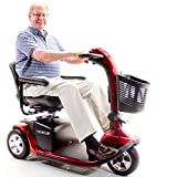 VICTORY 10 Pride 3-wheel Electric Scooter SC610 Red + Challenger Mobility Accessories - Bundle