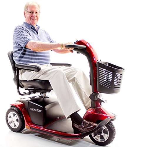 VICTORY 10 Pride 3-wheel Electric Scooter SC610 Red + Challenger Mobility Accessories - Bundle (Mobility Series Travel Scooter)