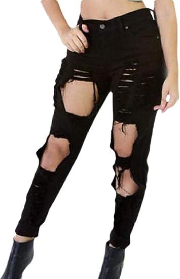 maweisong 女性ハイウエストカジュアルストレッチ破壊リッピングホールジーンズパンツ