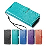 Galaxy S7 Case, HLCT PU Leather Case, With Soft TPU Protective Bumper, Built-In Kickstand, Cash And Card Pockets, For Samsung Galaxy S7 (Teal)