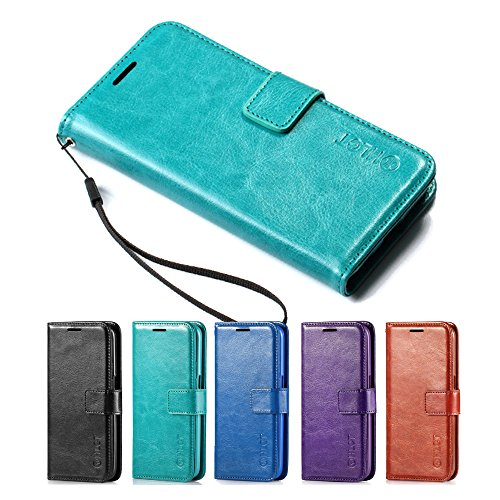 Price comparison product image Galaxy S7 Case,  HLCT PU Leather Case,  With Soft TPU Protective Bumper,  Built-In Kickstand,  Cash And Card Pockets,  For Samsung Galaxy S7 (Teal)