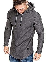 Mens Athletic Hoodies Sport Sweatshirt Solid Color Pullover Shirt Long Sleeve Tops