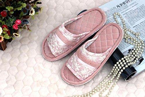 Coppie fankou home scarpe moquette del pavimento cotone pantofole ,39-40, rosa chiaro