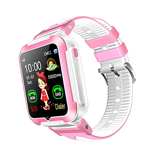 Kids Phone Smartwatch, Real-time GPS Tracker & Parent Monitor, Sleep Monitor Pedometer, Support IOS & Android (Pink)