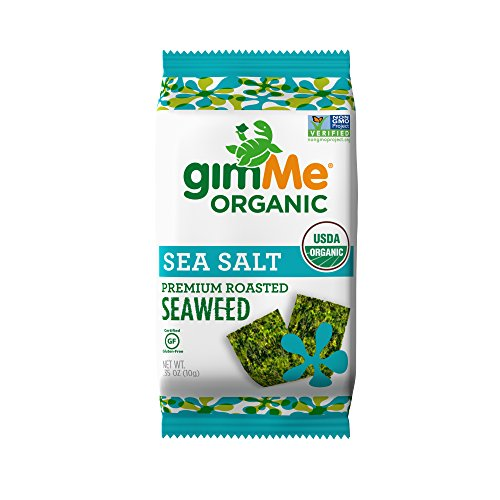 gimMe Snacks Organic Roasted Seaweed Snacks, Sea Salt, 0.35 Ounce (Pack of 12)