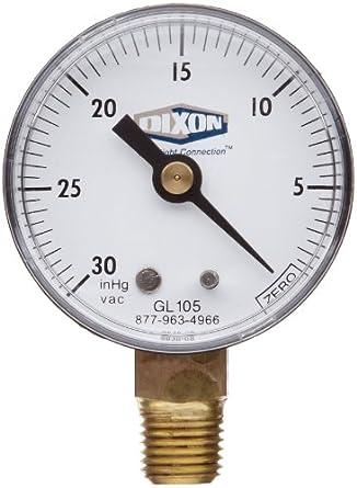Dixon Valve GL105 Vacuum Gauge 1 4quot Lower Mount 2quot