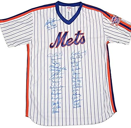 best loved edf35 f9623 1986 Mets World Series Team Signed 35 Auto Jersey 25th Patch ...