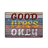 EZON-CH Modern Non Slip Good Vibes Only Retro Wood Board Home Bathroom Bath Shower Bedroom Mat Toilet Floor Door Mat Rug Carpet Pad Doormat(16X24IN)