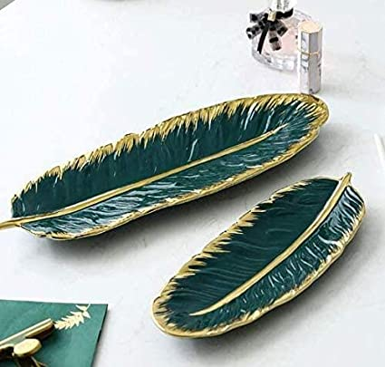 Feather shaped jewelry tray