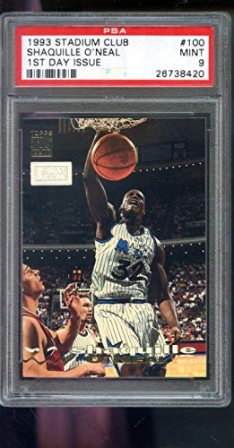 1993-94 Topps Stadium Club 1st Day Issue First #100 Shaquille O'Neal Shaq ONeal Insert NBA MINT PSA 9 Graded Basketball - Stadium Day Club First Issue