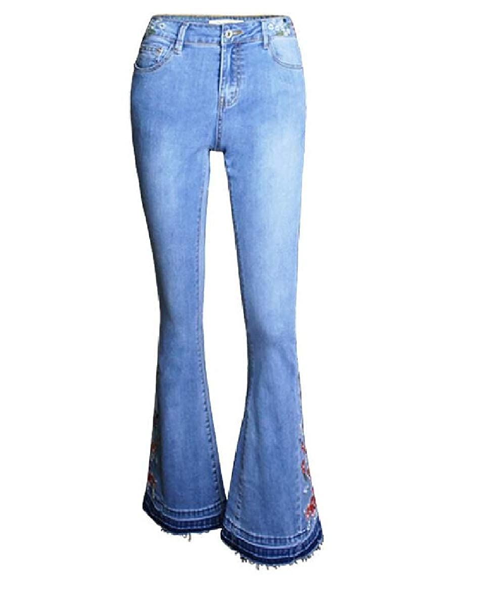 Smeiling Womens High Rise Embroidered Jeans Long Bell Bottom Flared Pants