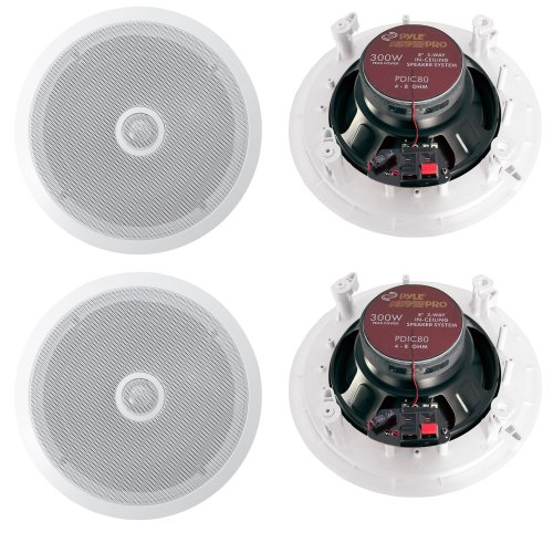 - Pyle PDIC80 8'' 1200W 2-Way In-Ceiling/Wall Home Speaker System, White (2 Pair)