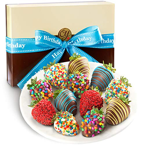 Golden State Fruit 12 Piece Happy Birthday Chocolate Covered Strawberries (Birthday Chocolate Fruit Basket)
