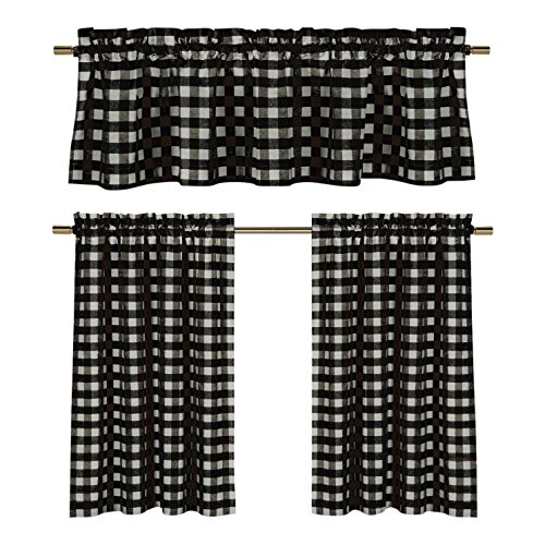 (GoodGram 3 Pc. Plaid Country Chic Cotton Blend Kitchen Curtain Tier & Valance Set - Assorted Colors (Black))