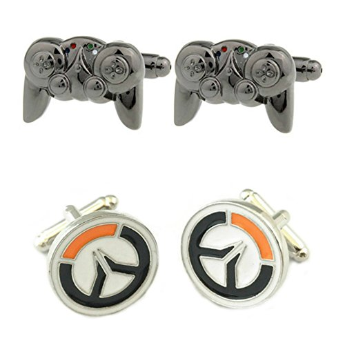 Video Game 2 Pairs Game Controller & Overwatch Superhero 2018 Games Theme Groom Groomsmen Mens Boys Cufflinks by Outlander Gear