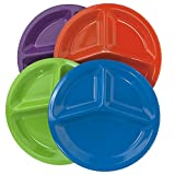 10-inch Round Plastic Divided Plates | set of 12 in 4 Assorted Colors