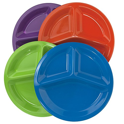 Dinner Plastic Plates Divided (10-inch Round Plastic Divided Plates | set of 12 in 4 Assorted Colors)
