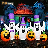 MerryXGift Halloween Inflatable Ghost with Pumpkin 7ft - Airblown Inflatable Halloween Blow up Decorations for Holiday Indoor Outdoor...