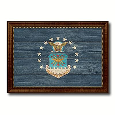Military Vintage Flag Brown Framed Canvas Print Home Decor Wall Art Gifts Signs Cards