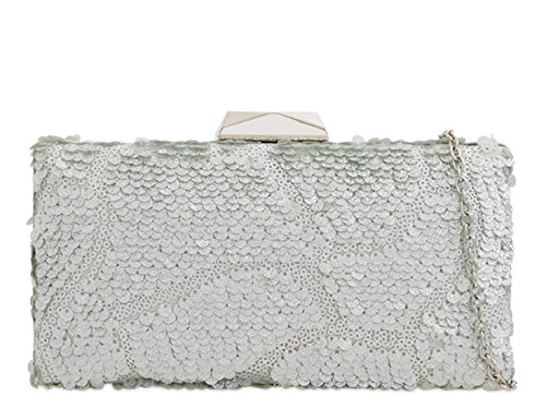 Party Out Evening Women's Prom Night Bag Clutch Silver Wedding K2268 For Leahward q7FpxgCSwS