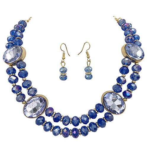 2 Row Layered Beveled Glass Beaded Boutique Statement Style Necklace and Dangle Earrings Set (Royal Blue)