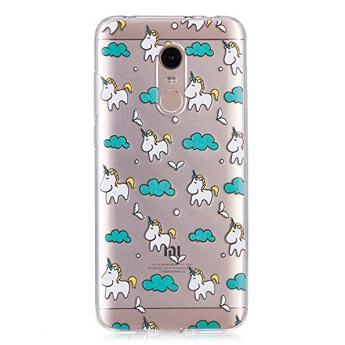 Funda para Xiaomi Redmi 5 Plus , IJIA Transparente Nubes Unicornio TPU Silicona Suave Cover Tapa Caso Parachoques Carcasa Cubierta para Xiaomi Redmi 5 Plus (5.99)