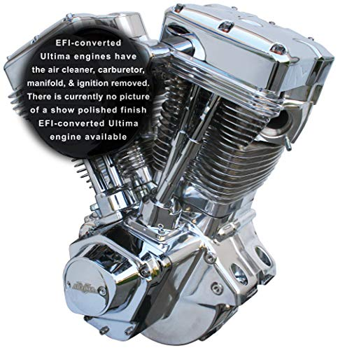 Ultima El Bruto Competition Series EFI-Converted Evolution Style Long Block Motorcycle Engine (Chrome & Show Polished Finish, 113 Cubic Inches)