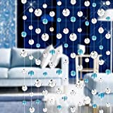 Door String Curtain Shade Dividing line Ambilight Crystal Tassel Screen for Home Decoration (Blue)