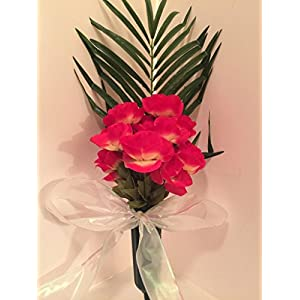 GRAVE DECOR - CEMETERY MARKER - FUNERAL ARRANGEMENT - FLOWER VASE - HOT PINK AND YELLOW ROSES 96