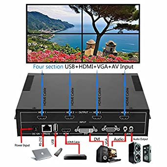 Mophorn 4 Channel HDMI VGA AV Video Wall Controller 2x2 Video Wall  Processor with Four Picture Multiviewer TV Wall Controller for Perfect  Visual