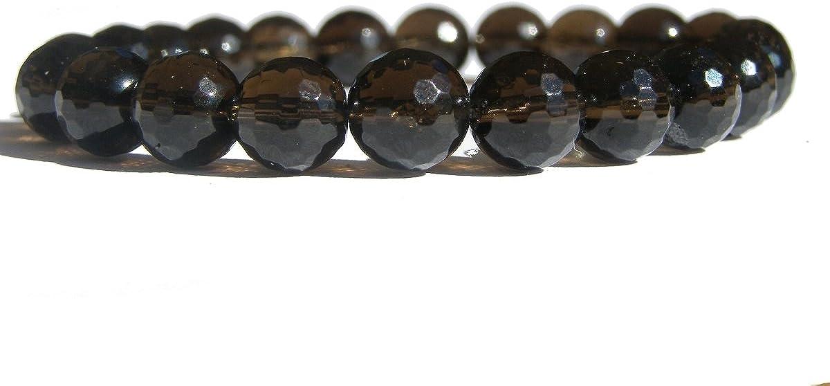 Zens puertas cuarzo ahumado facetado pulsera 16 cm unisex, piedras preciosas, marrón