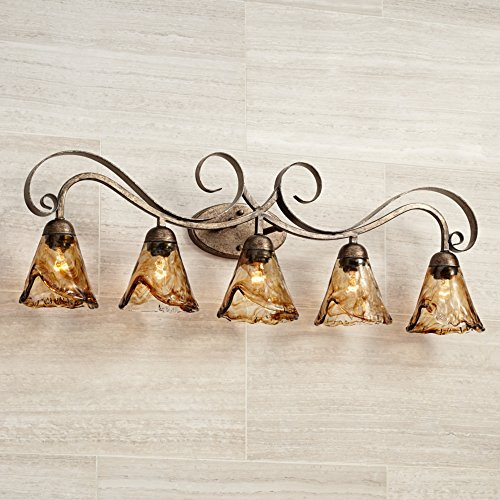 Amber Scroll 37 1/4'' Wide Art Glass and Bronze Bath Light by Franklin Iron Works (Image #2)