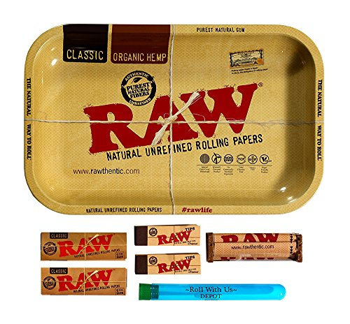 RAW Rolling Tray Combo Includes Tray, 1 1/4 Classic Rolling Papers, 79 mm Rolling Machine, Original Tips, and Roll with Us Doobtube (Small)