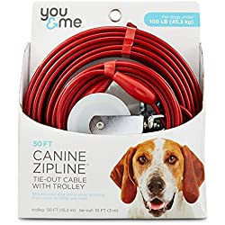 You & Me Red Large Canine Zipline Dog Tie-Out Cable with Trolley, 50' L, For Dogs up to 100 Lbs.