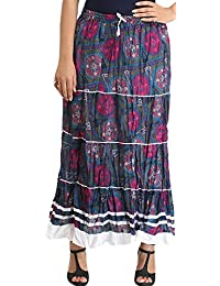Exotic India Blue and Purple Long Skirt with Floral-Print and Ribbons