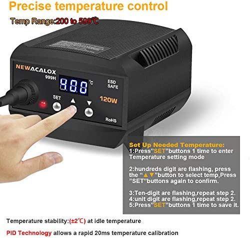 120W Digital Soldering Station,200-599℃,Multifunctional 110V ESD SAFE Lead Free
