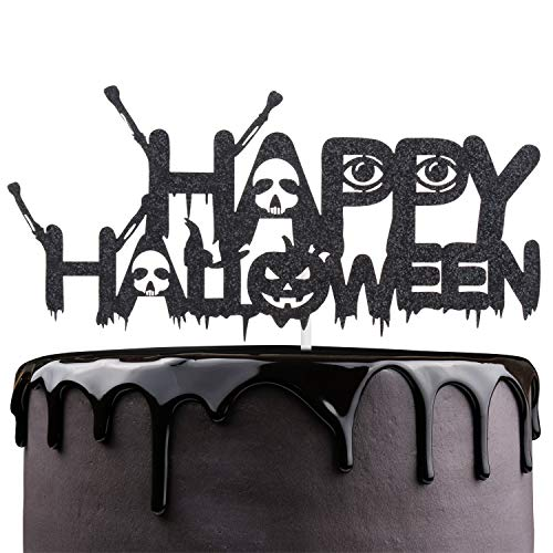 Scary Halloween Birthday Cakes (Happy Halloween Cake Topper - Black Glitter Spooky Ghost Skull Cake Décor - October Holidays Kids Birthday Party - Halloween Party)
