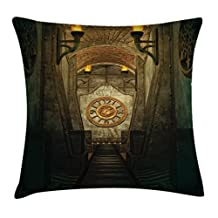 Gothic House Decor Throw Pillow Cushion Cover by Ambesonne, Medieval Secret Torch and Golden Clock on Wall Mystery in Temple Print, Decorative Square Accent Pillow Case, 16 X 16 Inches, Grey Teal