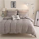 Zhiyuan Small Plaid Grey Duvet Cover Flat Sheet Pillowcase Set, Full