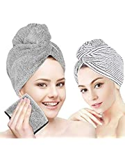 Hair Drying Towel, Organic Bamboo Hair Wrap Turban, Anti Frizz Super Quick Absorbent & Soft for Women Girl Wet/Long/Curly/Thick Hair