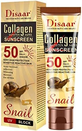 Collagen Snail Sunscreen Moisturizing SPF 50 PA+++ Broad Spectrum UVA/UVB Protection, Water Resistant Whitening Sunscreen Cream for Body