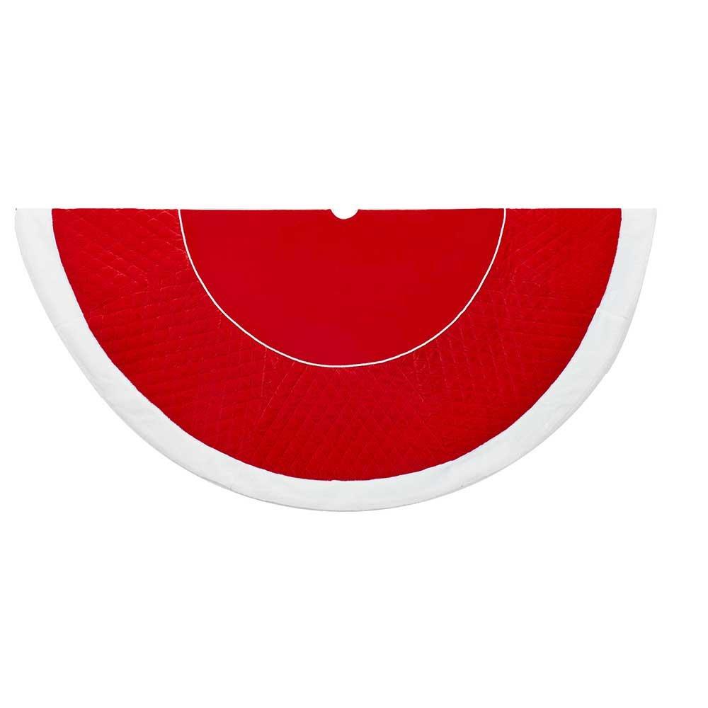 Kurt Adler 72-Inch Velvet Quilt Faux Fur Border Red and White Treeskirt